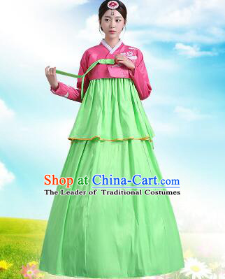 Korean Court Dress Girl Stage Costumes Show Traditional Clothes Dancing Children Ceremonial Dresses Full Dress Formal Attire Red Top Green Skirt