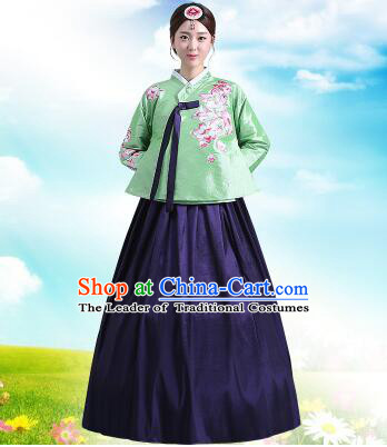 Korean Court Dress Girl Stage Costumes Show Traditional Clothes Dancing Children Ceremonial Dresses Full Dress Formal Attire Green Top Blue Skirt