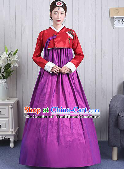 Korean Court Dress Girl Stage Costumes Show Traditional Clothes Dancing Children Ceremonial Dresses Full Dress Formal Attire Red Top Purple Skirt