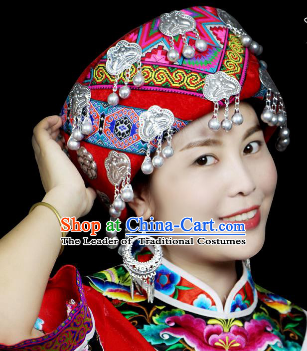 Chinese Traditional Miao Minority Hmong Folk Ethnic Hat, Tujia Ethnic Embroidery Bells Hat for Women