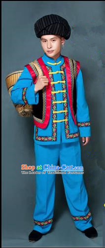 Traditional Chinese Miao Nationality Folk Dance Ethnic Wear, China Tujia Nationality Clothing Costume, Ethnic Dresses Cultural Dances Costumes Complete Set for Men
