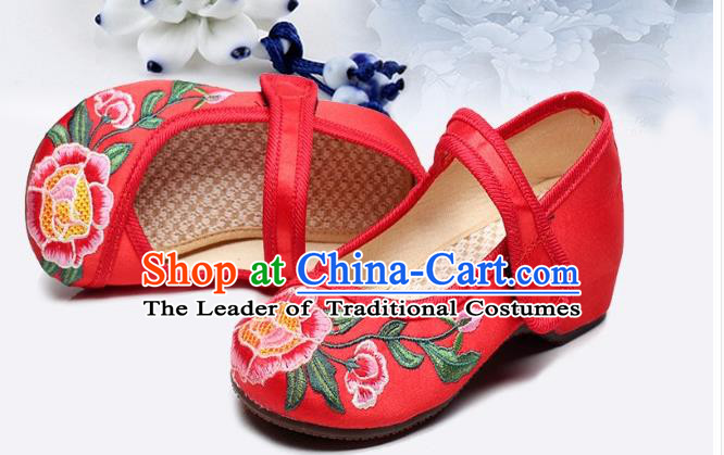 Traditional Chinese Folk Dance Shoes, Children Embroidered Shoes, Chinese Embroidery Fabric Shoes for Kids