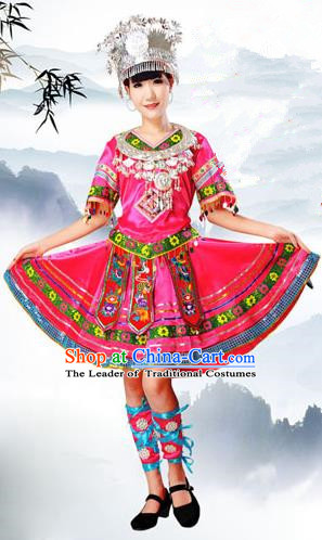 Traditional Chinese Molao Nationality Dancing Costume and Headwear, Guangxi Molao Female Folk Dance Ethnic Pleated Skirt and Hat, Chinese Minority Nationality Embroidery Costume for Women