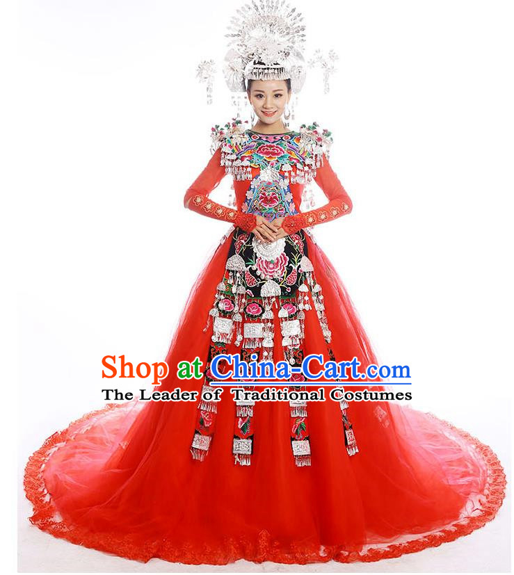 Traditional Chinese Miao Nationality Wedding Costume Accessories Crown, Necklace, Hmong Female Wedding Ethnic Trailing Dress and Phoenix Silver Headwear, Chinese Minority Nationality Embroidery Costume and Hat for Women