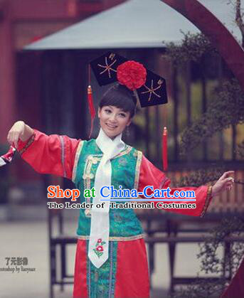 Princess Dress for Qing Dynasty Chinese Traditional Costumes Ancient Clothes Costumes Empresses in the palace Qing Chuang Stage Show Green