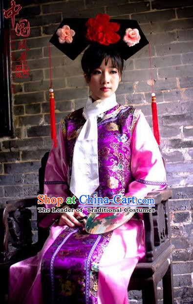 Princess Dress for Qing Dynasty Chinese Traditional Costumes Ancient Clothes Costumes Empresses in the palace Qing Chuang Stage Show Red