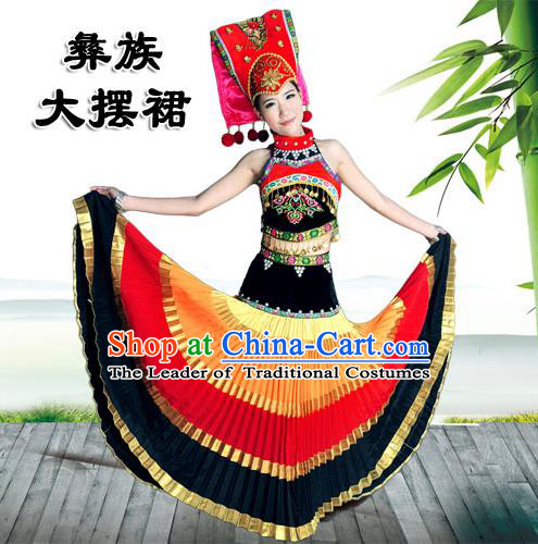Traditional Chinese Yi Nationality Dancing Costume, Yi People Female Folk Dance Ethnic Pleated Skirt, Chinese Minority Nationality Embroidery Costume for Women