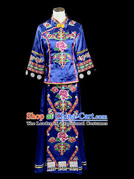 Traditional Chinese Tujia Nationality Dancing Costume, Tujia Female Folk Dance Ethnic Pleated Skirt, Chinese Minority Nationality Embroidery Costume for Women