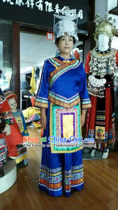 Traditional Chinese Shui Nationality Dancing Costume and Accessories, Shuizu Female Folk Dance Ethnic Pleated Skirt, Chinese Water Minority Nationality Embroidery Costume Set for Women