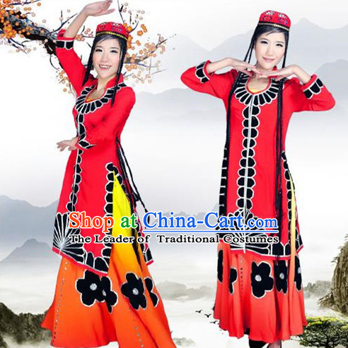 Traditional Chinese Uyghur Nationality Dancing Costume, Xinjiang Uygur Female Folk Dance Ethnic Pleated Skirt, Chinese Minority Nationality Embroidery Costume for Women