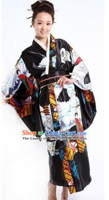 Japanese Traditional Costumes Kimono Tomesode Stage Show Wafuku Aristolochia ringens Tomesode Full Dress Black
