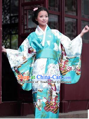 Japanese Traditional Costumes Kimono Tomesode Stage Show Wafuku Aristolochia ringens Tomesode Full Dress Green