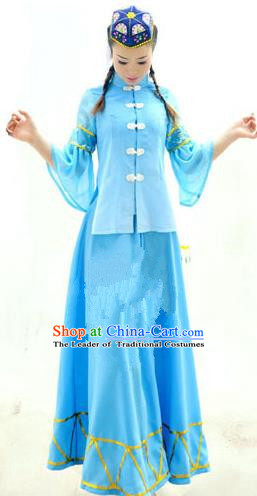 Traditional Chinese Salar Nationality Dancing Costume, Salarzu Female Folk Dance Ethnic Pleated Skirt, Chinese Salar Minority Nationality Embroidery Costume for Women