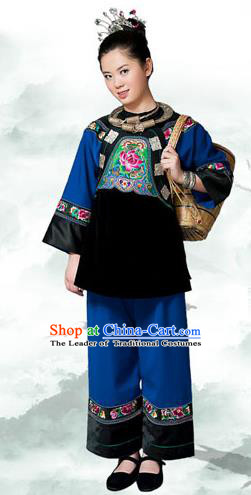 Traditional Chinese Miao Nationality Dancing Costume, Hmong Female Folk Dance Dress, Chinese Minority Nationality Embroidery Costume for Women