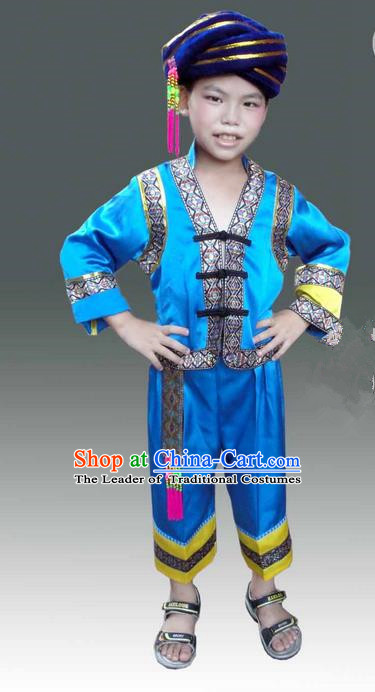 Traditional Chinese Miao Nationality Dancing Costume, Hmong Children Folk Dance Ethnic Dress, Chinese Minority Tujia Nationality Embroidery Costume for Boys Kids