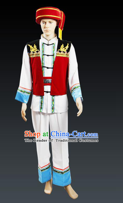 Traditional Chinese Miao Nationality Dancing Costume, Tujiazu Male Folk Dance Ethnic Dress, Chinese Minority Yao Nationality Embroidery Costume for Men