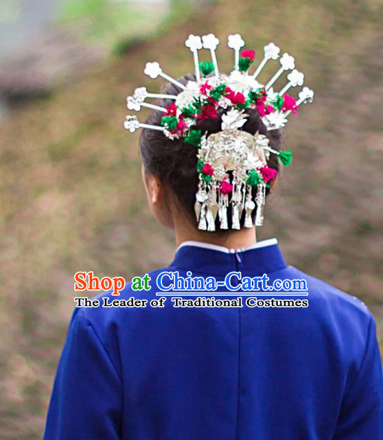 Traditional Chinese Miao Ethnic Minority Accessories, Miao Ethnic Jewelry Accessories Hairpin Complete Set for Women