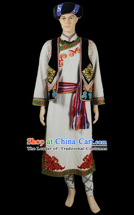 Traditional Chinese Qiang Nationality Dancing Costume, Qiangzu Male Folk Dance Ethnic Dress, Chinese Minority Qiang Nationality Embroidery Costume for Men