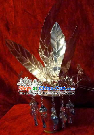 Traditional Chinese Miao Nationality Phoenix Silver Headwear, Hmong Female Folk Wedding Hat, Ethnic Accessories Crown, Chinese Minority Nationality Jewelry Accessories Hairpins for Women