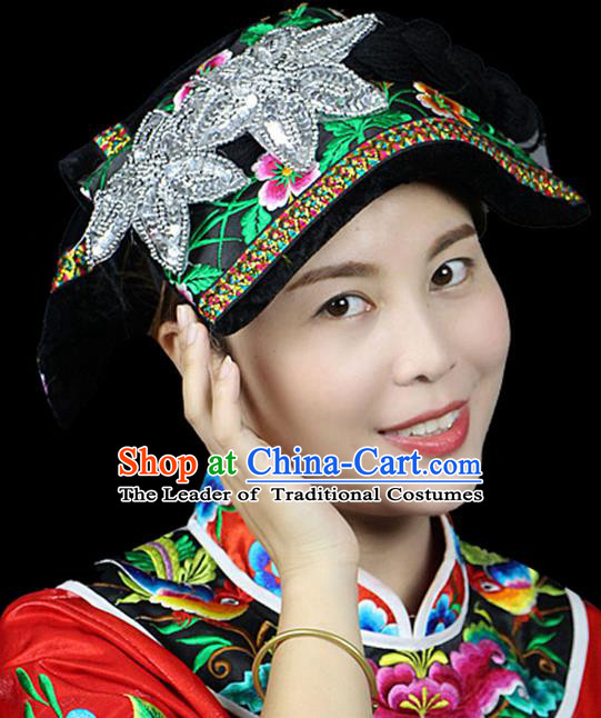 Traditional Chinese Miao Nationality Headwear, Hmong Female Folk Wedding Hat, Ethnic Accessories Crown, Chinese Minority Nationality Jewelry Accessories for Women