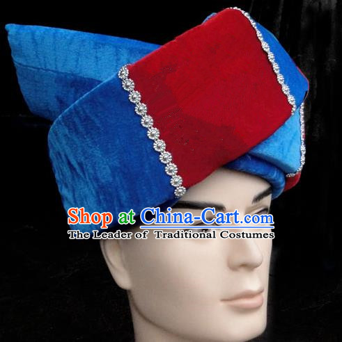 Traditional Chinese Miao Nationality Headwear, Hmong Male Folk Wedding Hat, Ethnic Accessories Crown, Chinese Minority Nationality Jewelry Accessories for Men