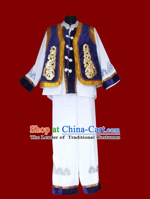 Traditional Chinese Bai Nationality Dancing Costume, Baizu Male Folk Dance Ethnic Dress, Chinese Minority Bai Nationality Embroidery Costume for Men