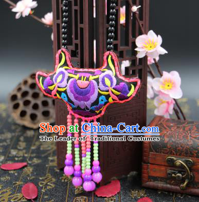 Traditional Chinese Miao Nationality Necklace, Hmong Folk Wedding Embroidery Sweater Chain, Chinese Minority Nationality Jewelry Accessories for Women