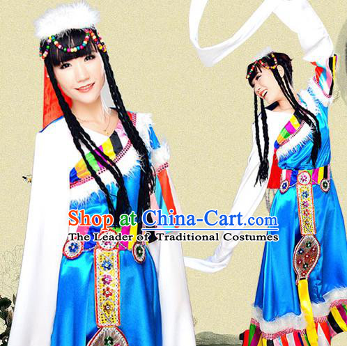 Traditional Chinese Mongol Nationality Dancing Costume, Mongolian Female Folk Dance Ethnic Dress, Chinese Minority Mongols Nationality Embroidery Costume for Women