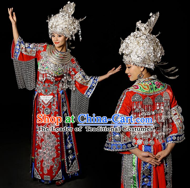 Traditional Chinese Miao Nationality Dancing Costume Accessories Necklace, Silver Phoenix Headwear, Hmong Female Folk Dance Ethnic Pleated Skirt and Headwear, Chinese Minority Nationality Embroidery Costume and Hat for Women