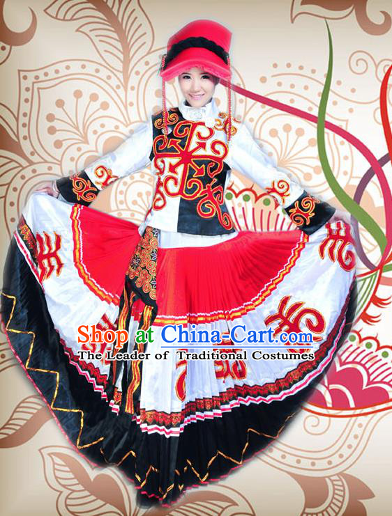 Traditional Chinese Qiang Nationality Dancing Costume, Qiangzu Female Folk Dance Ethnic Dress, Chinese Minority Qiang Nationality Embroidery Costume for Women