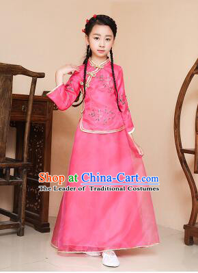 Chinese Traditional Dress for Children Girl Kid Min Guo Clothes Ancient Chinese Costume Stage Show Rose Red