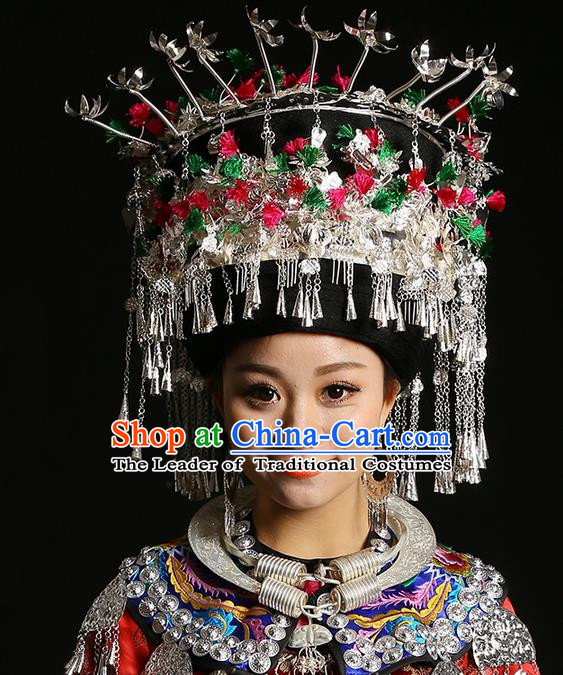 Traditional Chinese Miao Nationality Wedding Accessories Crown, Hmong Female Wedding Ethnic QingSiPa Silver Headwear, Chinese Minority Nationality Hat for Women
