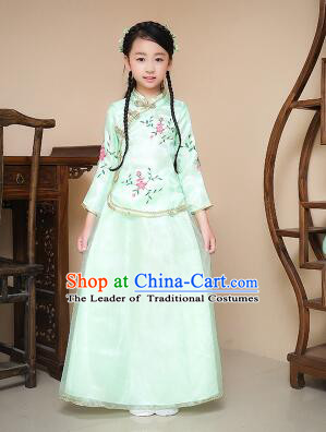 Chinese Traditional Dress for Children Girl Kid Min Guo Clothes Ancient Chinese Costume Stage Show Green
