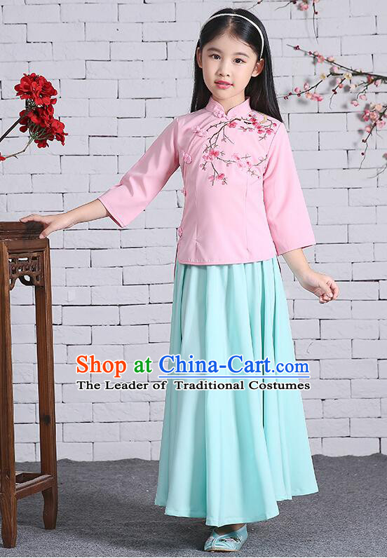 Chinese Traditional Dress for Girls Long Sleeves Kid Children Min Guo Clothes Ancient Chinese Costume Stage Show Pink Top Blue Skirt