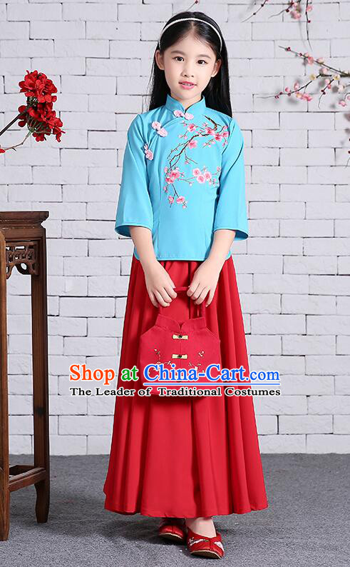 Chinese Traditional Dress for Girls Long Sleeves Kid Children Min Guo Clothes Ancient Chinese Costume Stage Show Blue Top Red Skirt