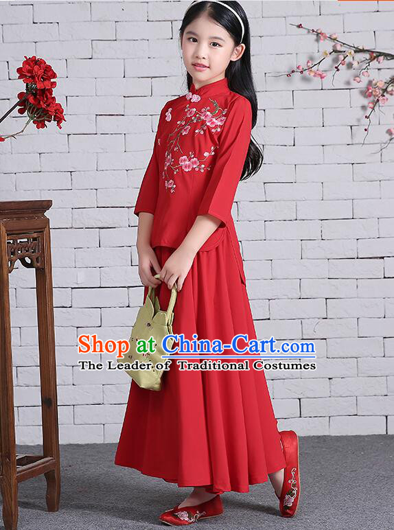 Chinese Traditional Dress for Girls Long Sleeves Kid Children Min Guo Clothes Ancient Chinese Costume Stage Show Red