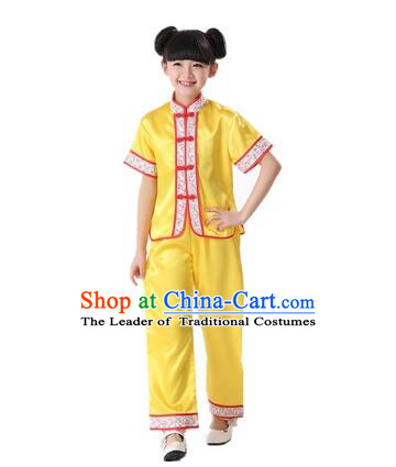 Chinese Traditional Wu Shu Clothes For Children Boys Girls Teenager Kung Fu Dress Tai Chi Tai Ji Chuan Martial Arts Uniform Complete Set Yellow