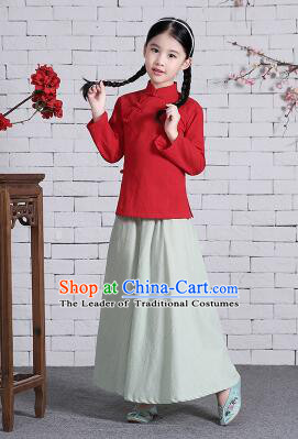 Chinese Traditional Dress for Girls Wu Si Period Student Dress Kid Children Min Guo Clothes Ancient Chinese Costume Stage Show Red Top Gray Green Skirt