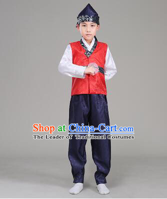 Korean Traditional Dress For Boys Children Clothes Kid Costume Stage Show Dancing Halloween Red Top Blue Pants