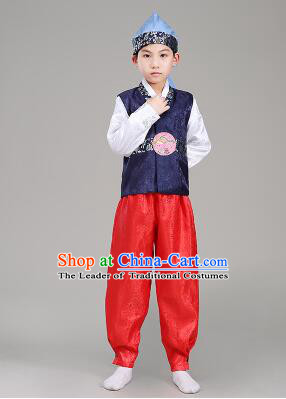 Korean Traditional Dress For Boys Children Clothes Kid Costume Stage Show Dancing Halloween Blue Top Red Pants