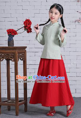Chinese Traditional Dress for Girls Wu Si Period Student Dress Kid Children Min Guo Clothes Ancient Chinese Costume Stage Show Pink Top Green Skirt