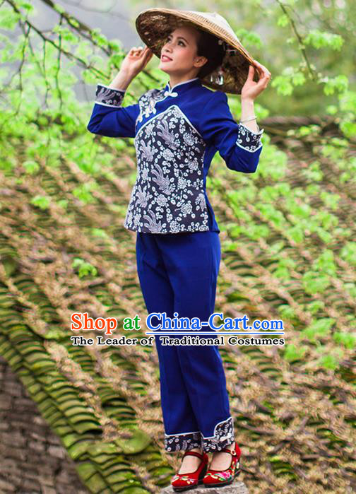 Traditional Chinese Tujia Nationality Dancing Costume, Tujiazu Female Folk Dance Ethnic Dress Set, Chinese Minority Tujia Nationality Embroidery Costume for Women
