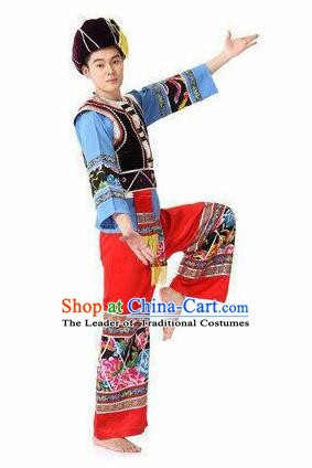 Traditional Chinese Yi Nationality Dancing Costume, Yizu Male Folk Dance Ethnic Dress, Chinese Minority Yi Nationality Embroidery Costume Set for Men