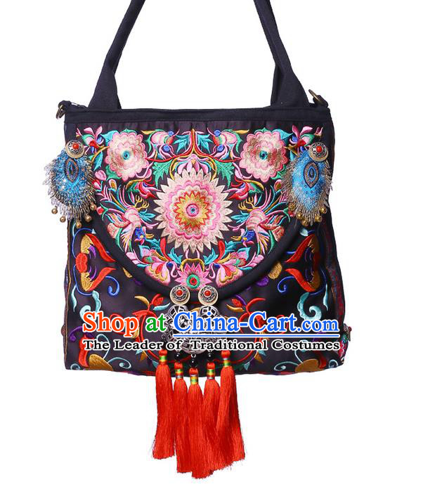 Traditional Chinese Miao Nationality Jewelry Accessories Bags, Hmong Ethnic Accessories Embroidery Shoulder Handbags for Women