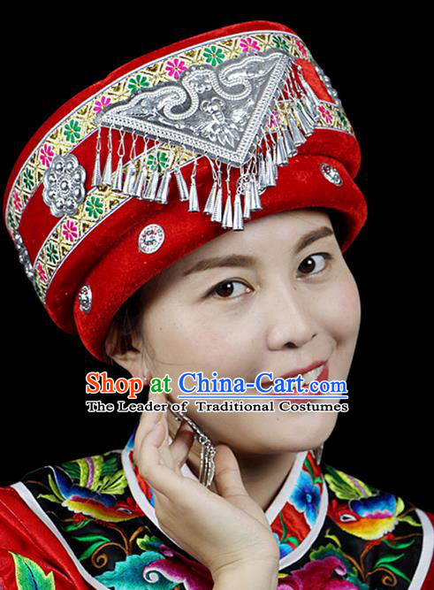 Traditional Chinese Miao Nationality Jewelry Accessories Hats, Hmong Ethnic Accessories, Chinese Minority Tujia Nationality Embroidery Headwear Hat for Women