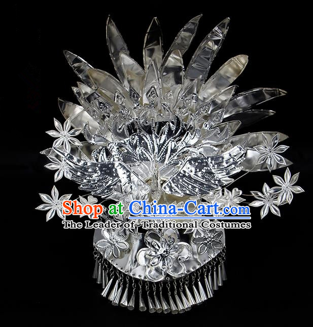 Traditional Chinese Miao Nationality Sliver Jewelry Accessories Phoenix Silver Headwear, Hmong Ethnic Hair Accessories, Chinese Minority Miao Nationality Hat Crown for Women