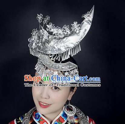 Traditional Chinese Miao Nationality Sliver Jewelry Accessories, Moon Silver Headwear, Hmong Ethnic Hair Accessories, Chinese Minority Miao Nationality Hat Crown for Women