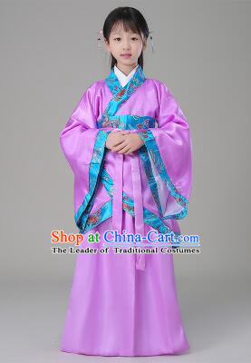 Traditional Chinese Dress Girls Han Fu Han Dynasty Clothes RuQun Children Kid Stage Show Ceremonial Costumes Purple