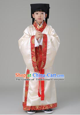 Traditional Chinese Dress Boy Han Fu Han Dynasty Clothes RuQun Children Kid Stage Show Ceremonial Costumes Beige