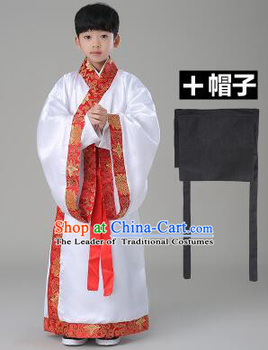 Traditional Chinese Dress Boy Han Fu Han Dynasty Clothes RuQun Children Kid Stage Show Ceremonial Costumes White